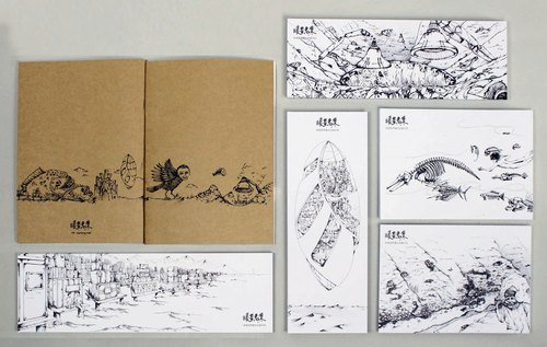 [Warm crisis set illustrator laptop painting wind hand-painted postcard set +] creative design in black and white kraft paper
