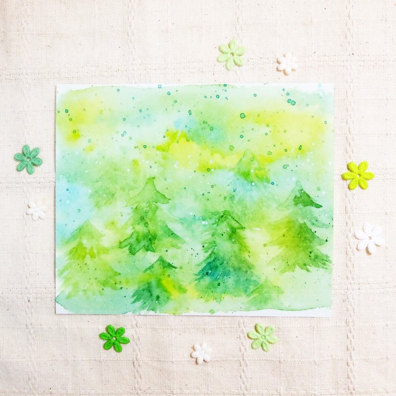 Yang Green Forest - sticker watercolor rendering geometry