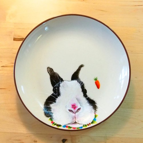 Wall hanging decorative plate / dessert plate series - Dodge rabbits come to the nose with flowers