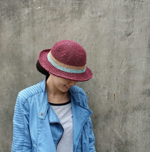 Straw hat - fuchsia