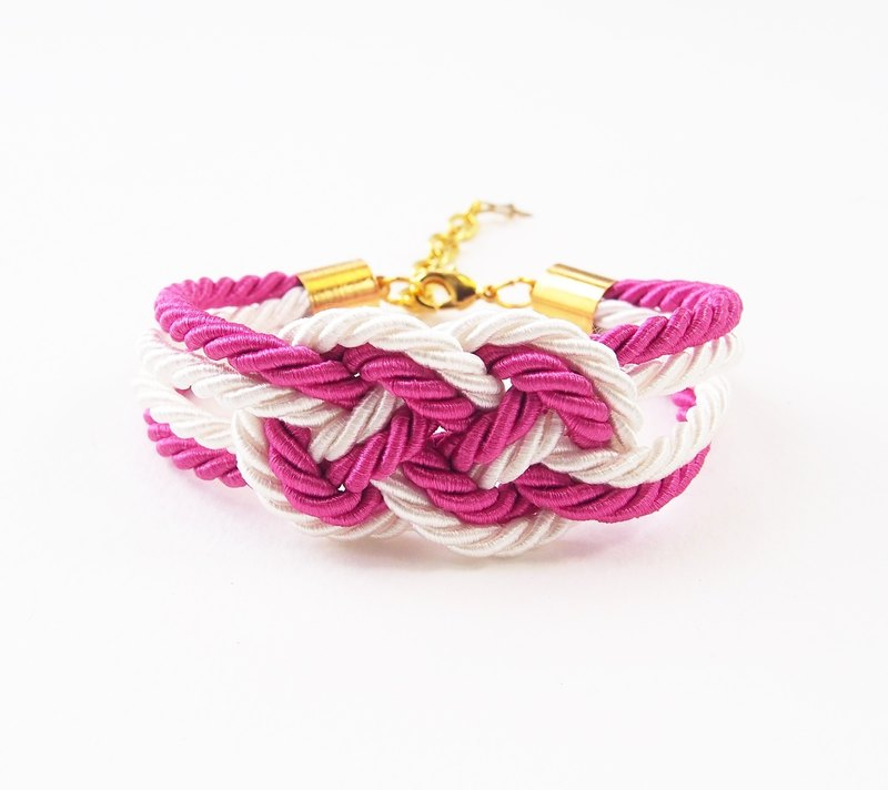 Pink / white nautical bracelet