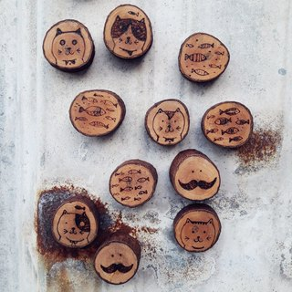 [Original wood.] Hand-painted series - loggers magnet (2 in)