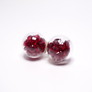 A Handmade red crystal ball earrings