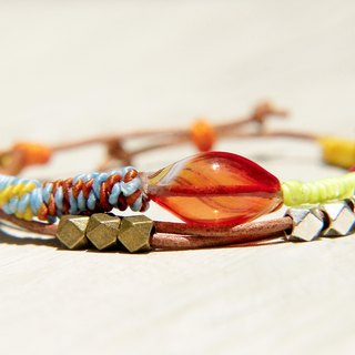 / Tropical Ocean / English-style glass wax line silk + real leather bracelet - red candy