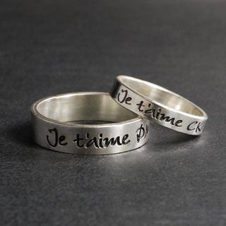 Love language ring Posy Ring sterling silver couples custom-made lettering custom-made lettering