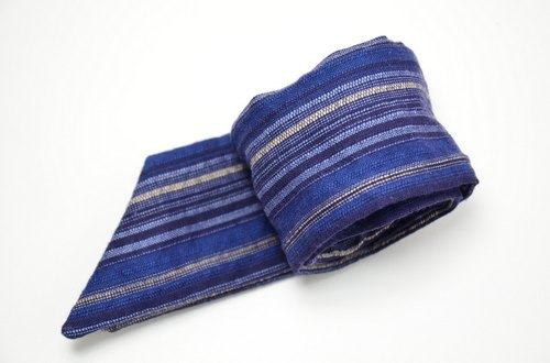 Dark blue striped rabbit ear hair band _
