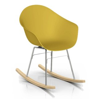 TOOU ArmShell oak rocking chair with a foot (Mustard Yellow)