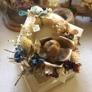 Christmas wreath wooden roses dried flowers - a small warm winter