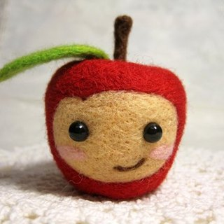 Apple wool felt doll