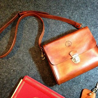Fiber hand-made hand-stitched vegetable tanned leather retro female party bag