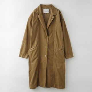 【Botanical dyed】 Walnut dyed cotton corduroy long picnic jacket