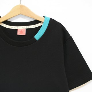 """H-ZOO"" Lightning Car Line Black* Lake Green Collar Stitch Tee"