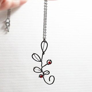 Winterberry Sterling Silver Necklace, Oxidized Sterling Silver Necklace with Crystal beads