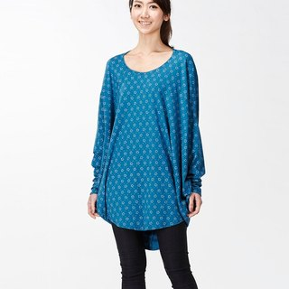 【Top】 Great Circle Design Long Sleeve Tunic_ Blue Flower