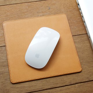 Leather Mouse Pad ( Custom Name ) - Classic Tan
