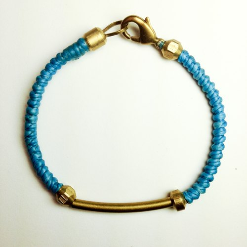 Azure bay (boy bold paragraph). Simple series ◆ Sugar Nok ◆ hand-knitted wax cord bracelet brass