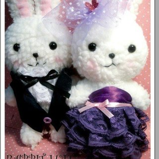 RABBITLULU 【Rabbit doll wedding rabbit romantic purple wedding】 wedding gift. Wedding arrangement. Bedding doll. The color of the car exposed dew rabbit