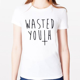 WASTED YOUTH # 2 Girls T-shirt -2 color text mustache beard retro funky glasses Wen Qing Art and Design