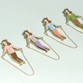 Skipping Girl Brooch - The Green