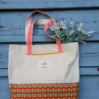 Lovely fruit design, orange ribbon embroidered bags grave light color