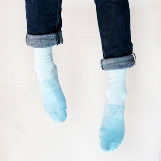 GREEN BLISS organic cotton socks - [joint series] PASTEL Gradation Blue progressive blue stockings (male / female)