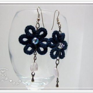 The elegant dark blue retro flower lace. Earrings (spot)