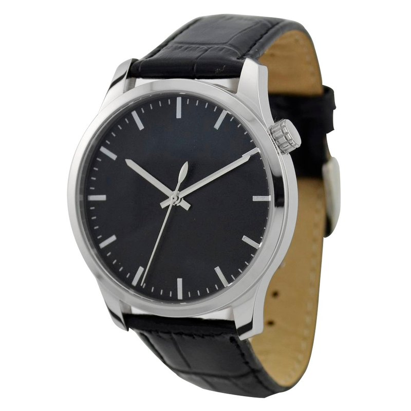 男裝簡約手錶黑面銀釘-全球免運