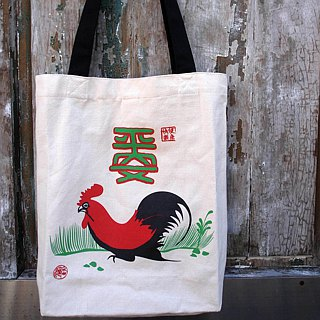 """Izu beans"" bag, canvas bag, shoulder bag, rooster, rooster bag, safe bag, Tote Bag, handbag, chicken male bag"