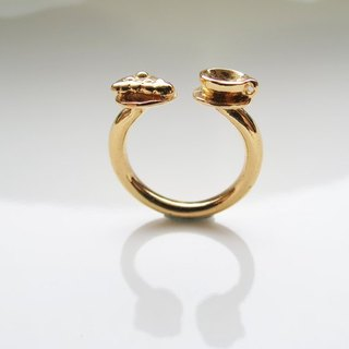 Tea time (k gold plated ring) - C percent handmade jewelry