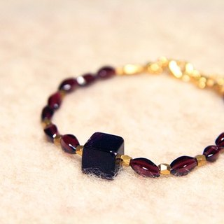 [Ofelia arts & amp; crafts] Natural Stone - Natural fluorite x Garnet Bracelet (remaining a) [J51-Rosemary]