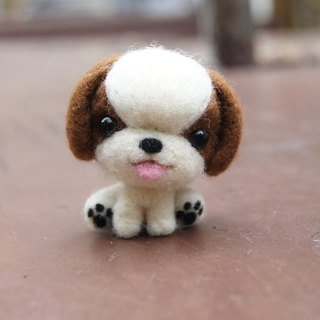 [羊乐多X wool felt] Shih Tzu mobile phone strap + earphone plug