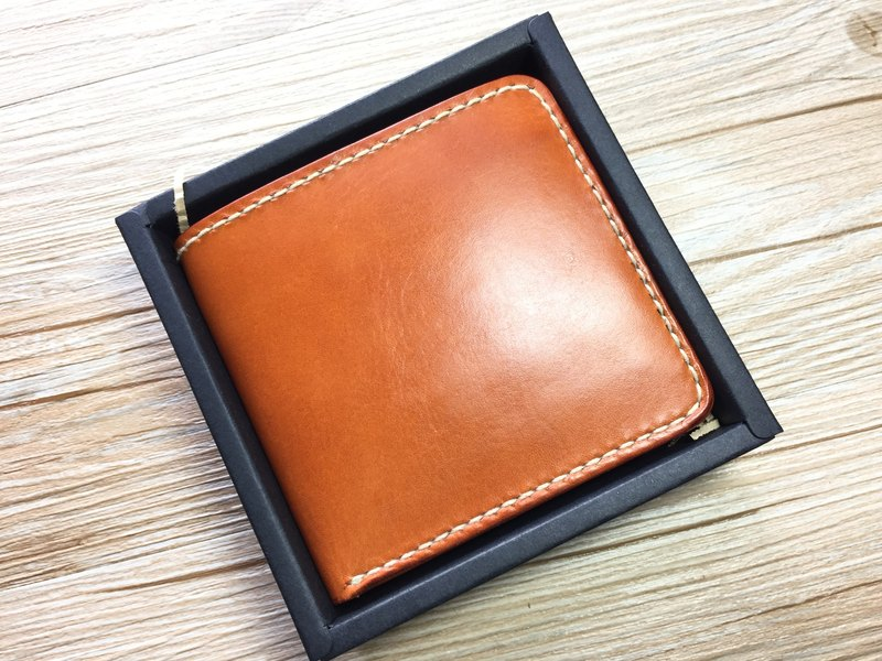 [Butterfly hand-made leather] classic short clip (free branding service).