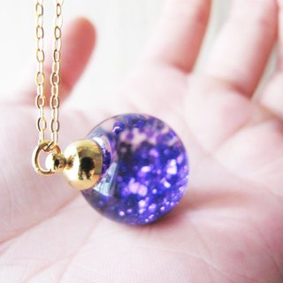 *Rosy Garden* purple glitter with water inisde glass ball necklace