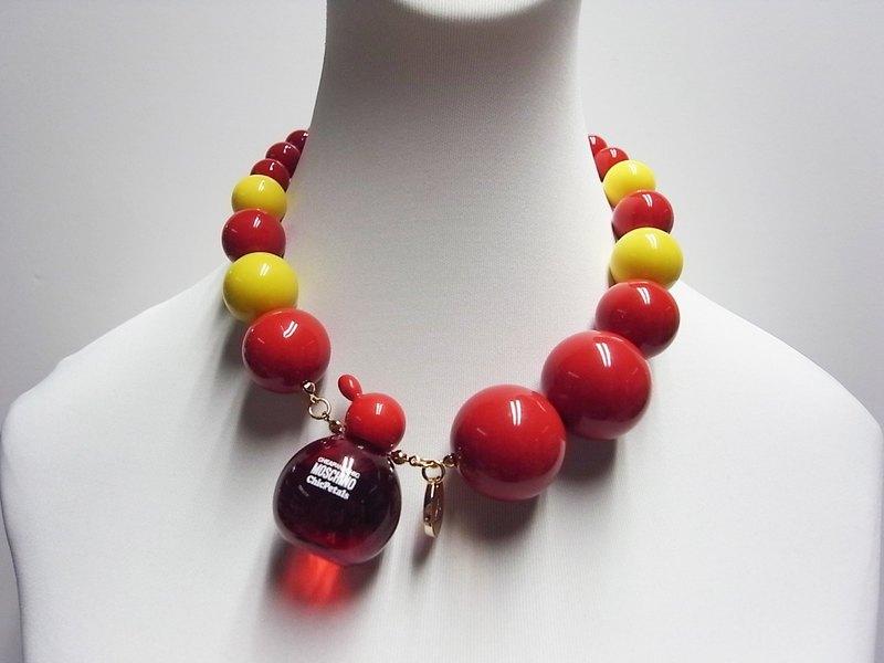 5195189165 Moschino perfume red bead necklace - Designer noveltylane
