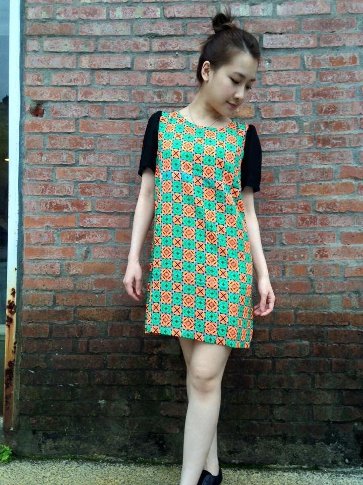 ~ Re: i fashion studio ~ Retro abstract plaid dress with chiffon sleeves dress throwing