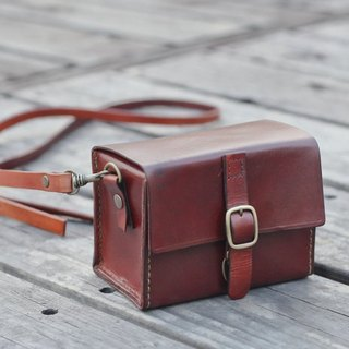 Classy Hand Stitched dark Brown Leather Camera Case