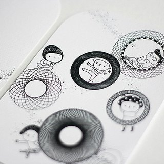 [B & W] Department ∙ large rounded postcards Six Degrees of Separation / childlike foot circle