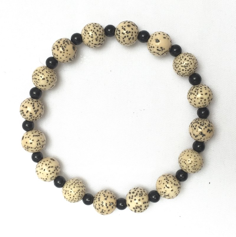 BR0338 - Natural gemstone - Black onyx, grape seed - Homemade handcuffs