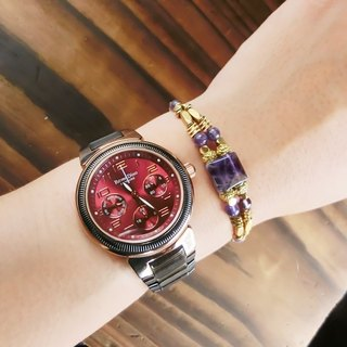 [Na UNA- excellent hand-made] box candy series - brass bracelet natural stone amethyst ▲ ▲ customization