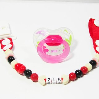 "Cheerful. ""Custom Name"" baby pacifier chain / pacifier clip / toy chain / anti-chain / / can be changed to 'vanilla pacifier' red"
