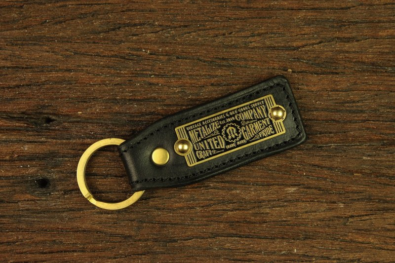 [METALIZE] brass label leather key ring