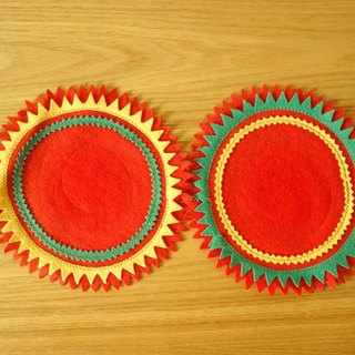 Lapland yellow-red cloth woven potholders group