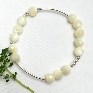 BR0334 - own design and manufacture of natural gems - pearl / silver bracelet 925