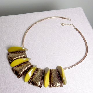 Between urban and rural areas Spike Shield \ Necklace. Bronze gold
