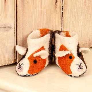 Warm indoor shoes / births ceremony British sew heart felt grazing sheep wool felt shoes - small