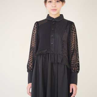moi non plus round neck black stitching dress