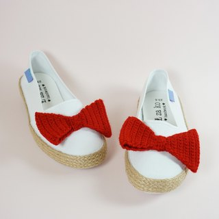 L-zako hand made casual lazy sneakers big bow models have woven models