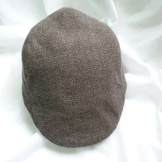 Gray and brown pre-weave fine-grain hunting cap (Flat Cap)