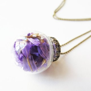 * Rosy Garden * purple forget-grass glass ball necklace