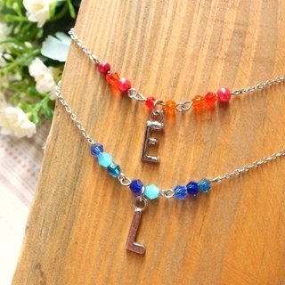 [I'm Kemi] translucent beads short chain (necklace). 26 letters / single diamond. Silver money